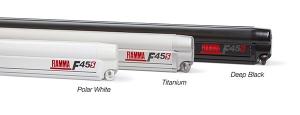 купить Маркиза настенная механическая Fiamma F45s 3.75 метра, белый корпус, серое полотно, опорные стойки